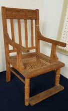 Eastlake caned seat child's chair with footrest