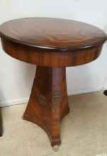German drum top inlaid lamp table