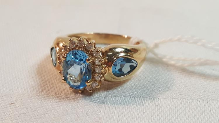 14k yel gold ladies diamond & blue topaz ring