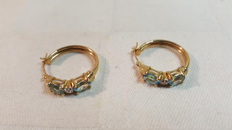 14k yel gold Diamond & Blue Topaz hoop earrings