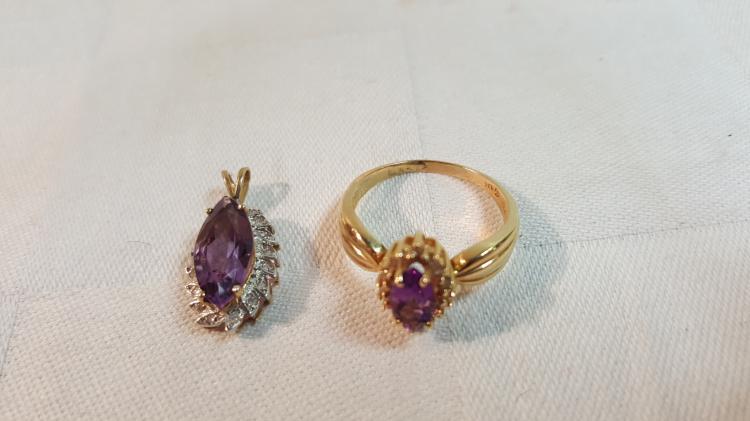 14k gold Dia.,Amethyst ring & 10k matching pendant