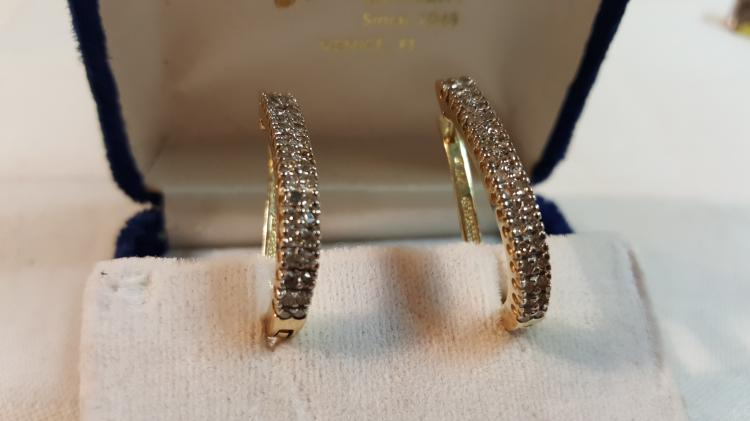 10k yel gold Diamond hoop earrings