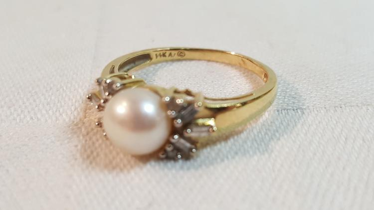 14k yel gold genuine pearl & diamond ladies ring