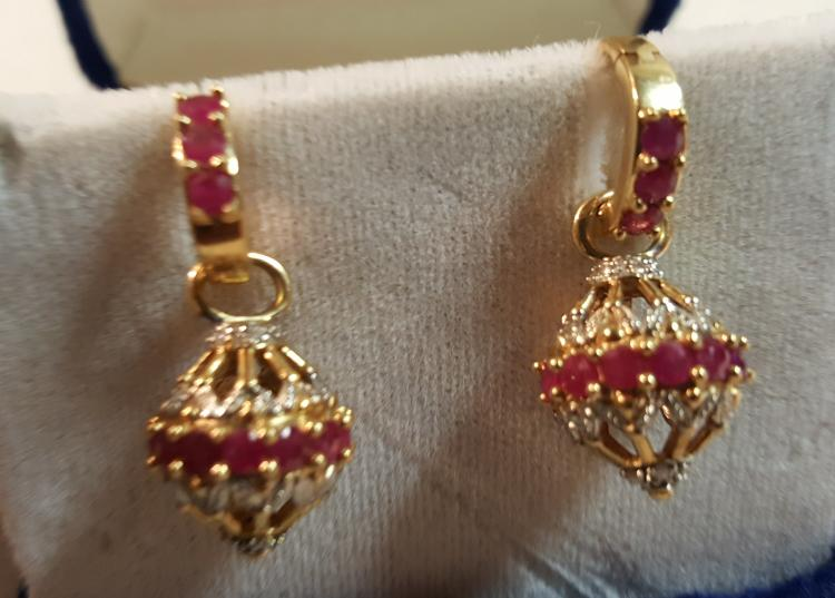 14k yel gold natural Ruby & Diamond earrings