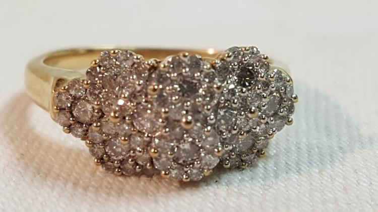 10k yel gold 1/2 ct. Diamond cluster ring