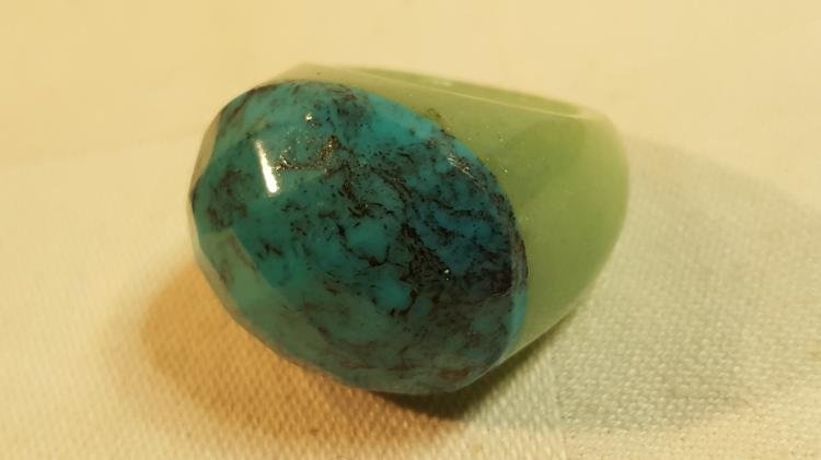 DEB GUYOT Jade stone & turquoise designer ring
