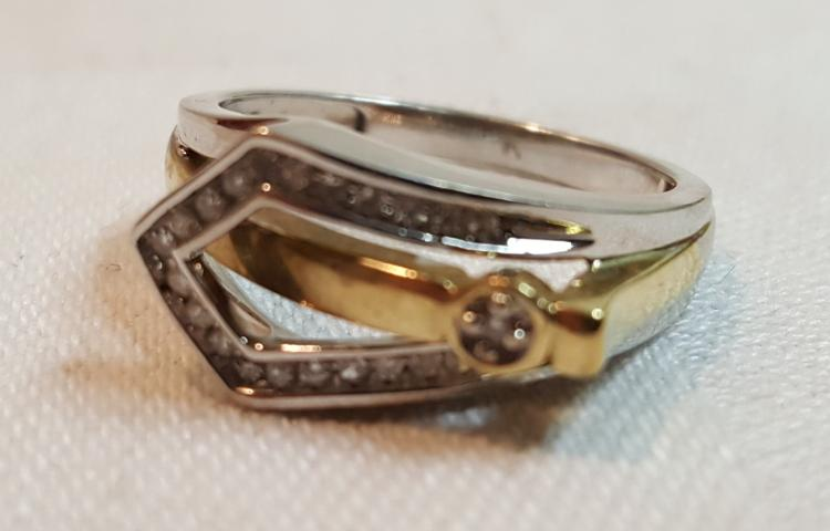 10k 2 tone gold Diamond buckle ladies ring
