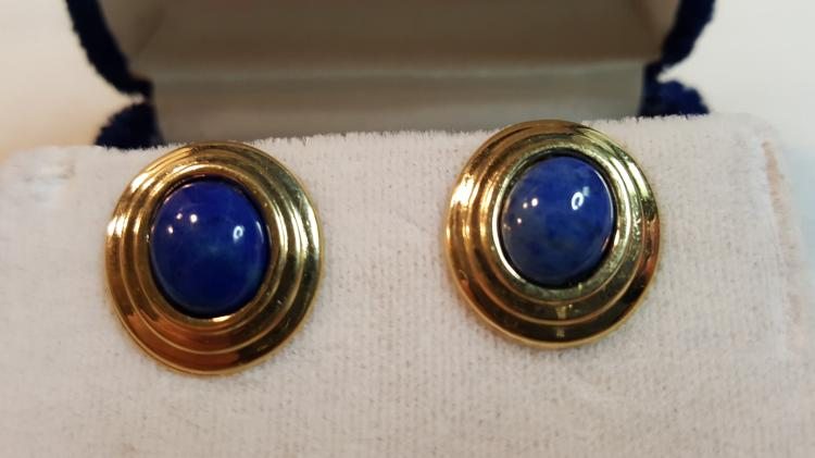 14k yel gold Natural Lapis round stud earrings