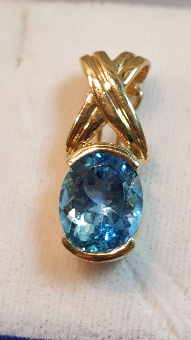 14k yel gold Blue Topaz slide pendant