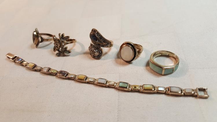 5 sterling silver rings & sterling bracelet