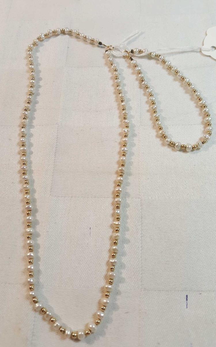 14k yel gold bead & pearl necklace & bracelet