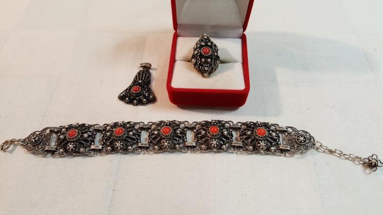 Vintage 800 silver bracelet, ring, pendant