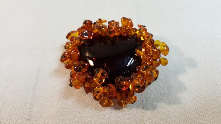 Amber Heart shape brooch w/925 pin back