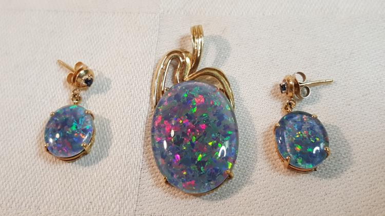 14k gold mosaic opal & blue sapphire pendant, ears