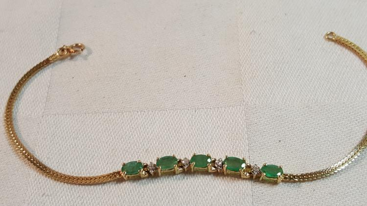 10k gold natural Emerald & Diamond bracelet