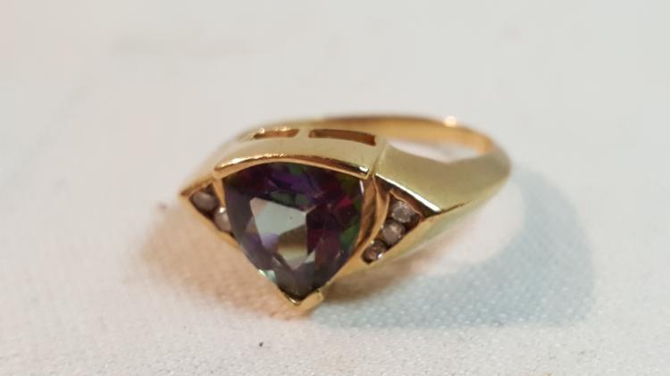 10k yel gold Mystic Topaz & Diamond ladies ring