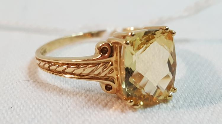 14k yel gold fancy cut Citrine ladies ring