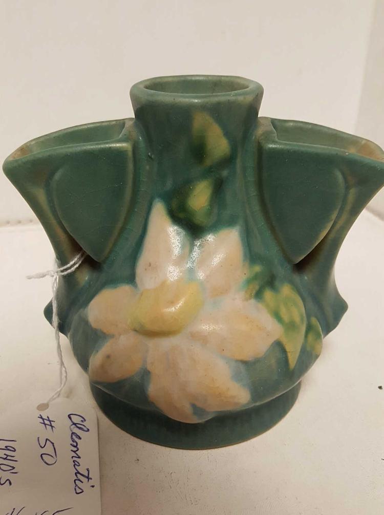 Roseville Clematis #50 flower frog vase