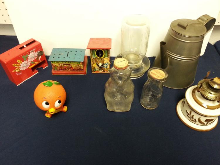 Assorted tin litho, coin banks, bottles, etc