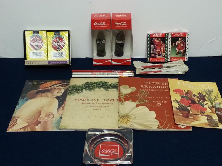 Coca-Cola collectibles cards, pens, ashtray