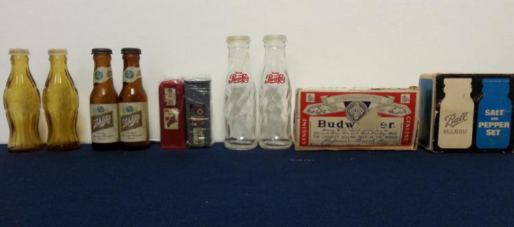 6 pairs Coke, Bud, etc salt & pepper shakers