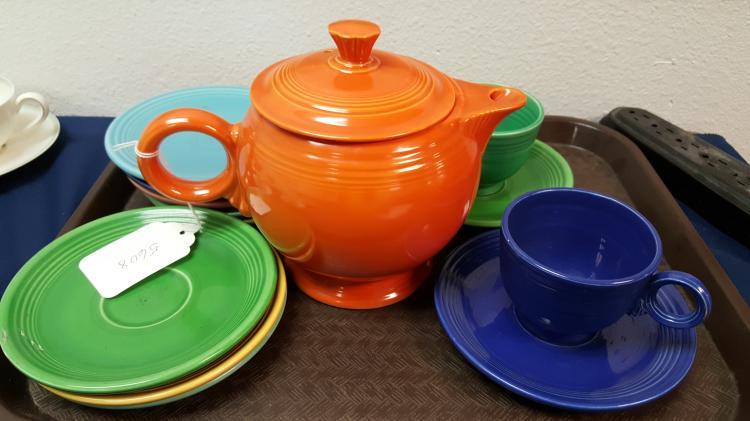 Vintage Fiesta teapot, teacups, plates, etc