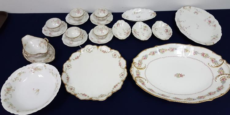 19 assorted Limoges China serving pcs & teacups