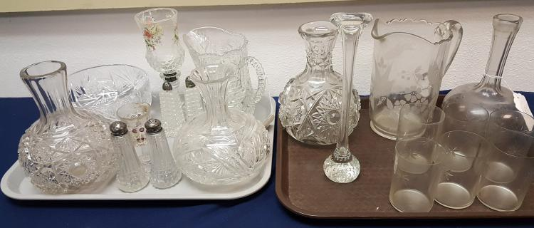 2 lots vintage cut & pressed glass items
