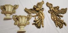 2 decorative gilt Angel's & 2 wall sconces
