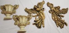 2 decorative gilt Angel's & 2 wall sconces