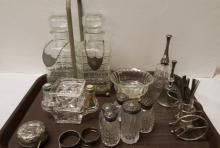 Lot of vintage silver plate & crystal items