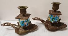 Pair, lily pad enameled & brass candlestands