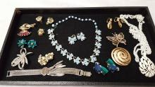 Lot of vintage signed costume jewelry items
