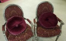 Pair Brocade Victorian style arm chairs