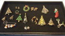Assorted Christmas costume jewelry