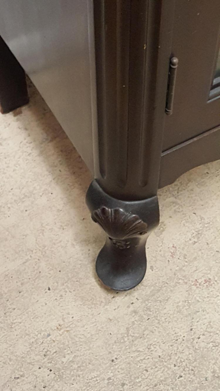 Mahogany Glass Door Bookcase Queen Anne Feet