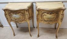 Pair Paint decorated French style lamp tables