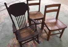Child's caned seat rocker, 2 oak school chairs