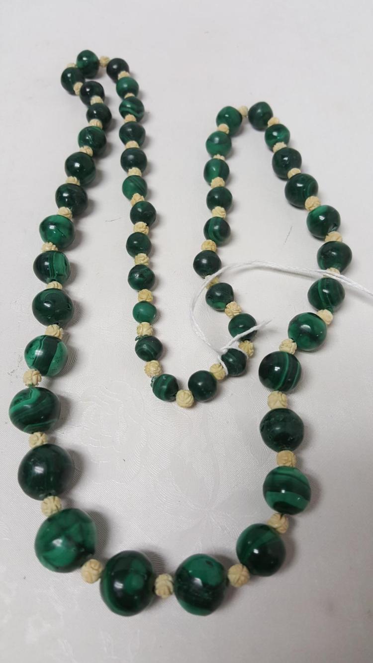 Polished Malachite Carved Bone Bead Necklace