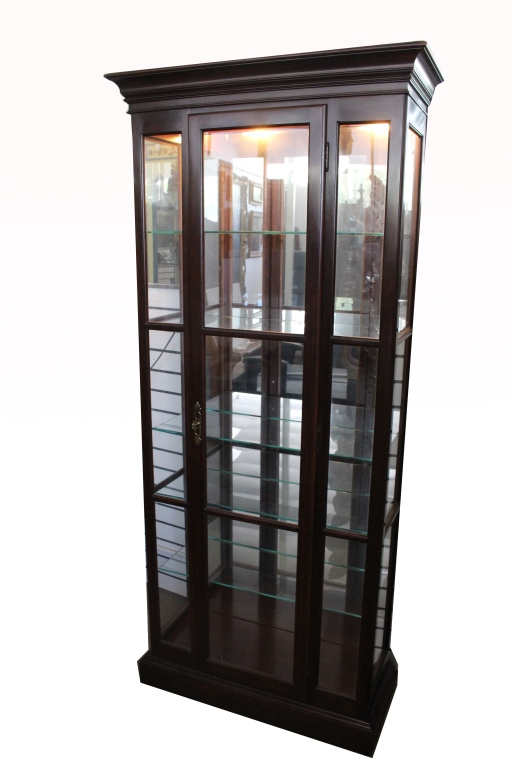 5 tiered glass wooden lighted display case. Black Bedroom Furniture Sets. Home Design Ideas
