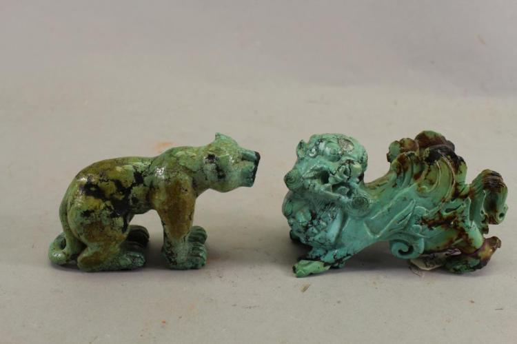 Stone Animal Figures : Carved turquiose stone animal figures