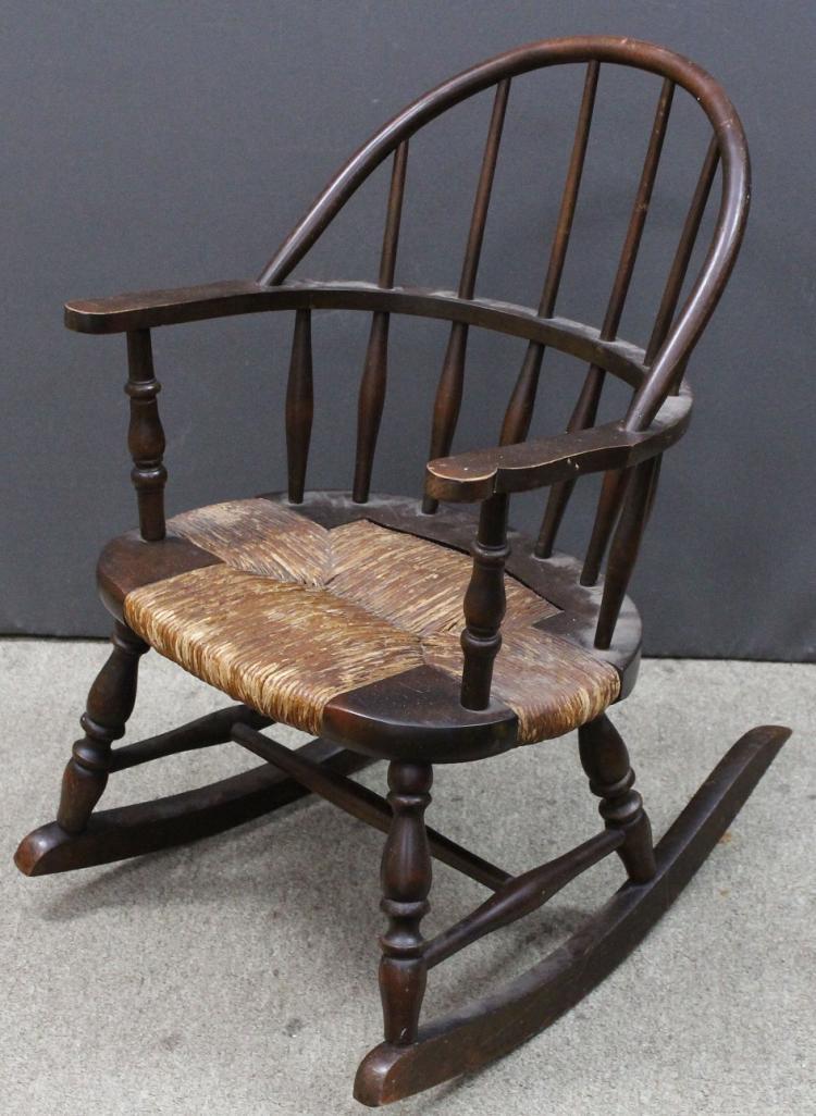 antique wooden child 39 s rocking chair. Black Bedroom Furniture Sets. Home Design Ideas