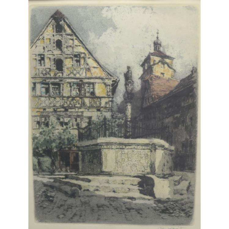 Rudolf Veit (1892-1979)  Colored Etching