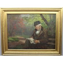 Signed 19th C. Man Reading in Park O/C