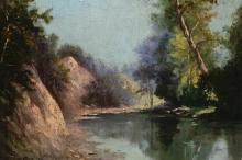 Signed Antique Hudson River Style Oil/Board