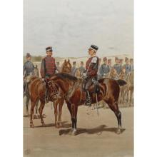 French 19th C. Etching of Infantrymen on Horse