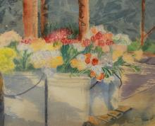 Signed 20th C. Watercolor of floral arrangements