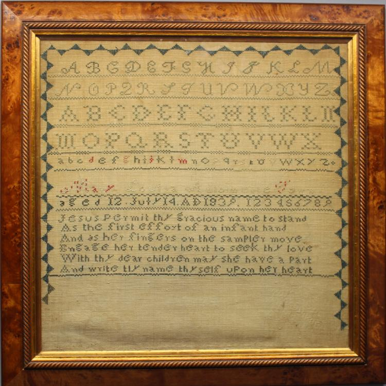 American Antique Sampler Dated 1839