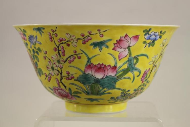 CHINESE IMPERIAL YELLOW FAMILLE ROSE BOWL, SIGNED