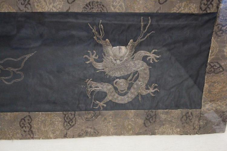 LARGE FRAMED CHINESE FIVE CLAW DRAGON NEEDLEWORK